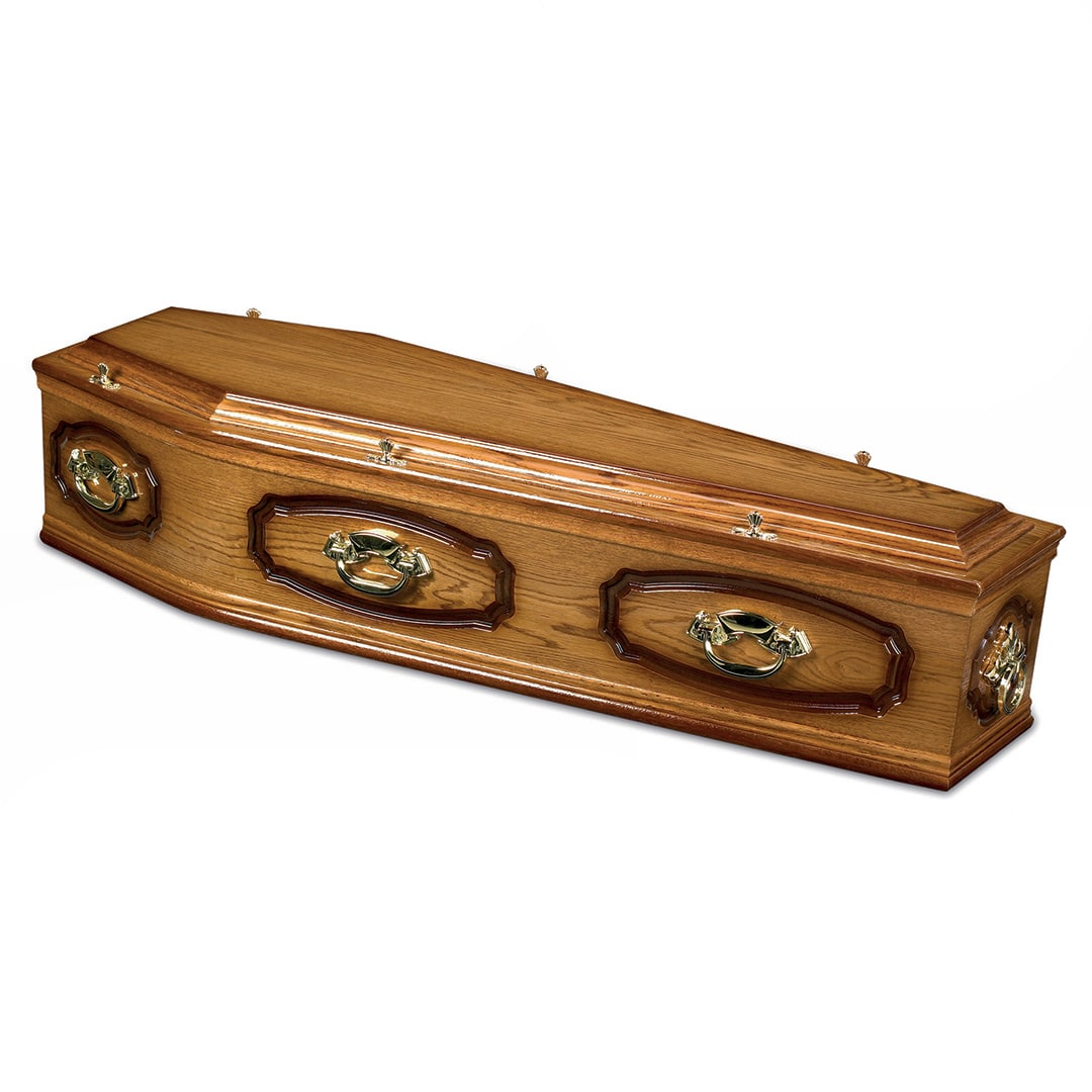 W Smith Funeral Directors The Drayton Dark Oak Veneer Coffin