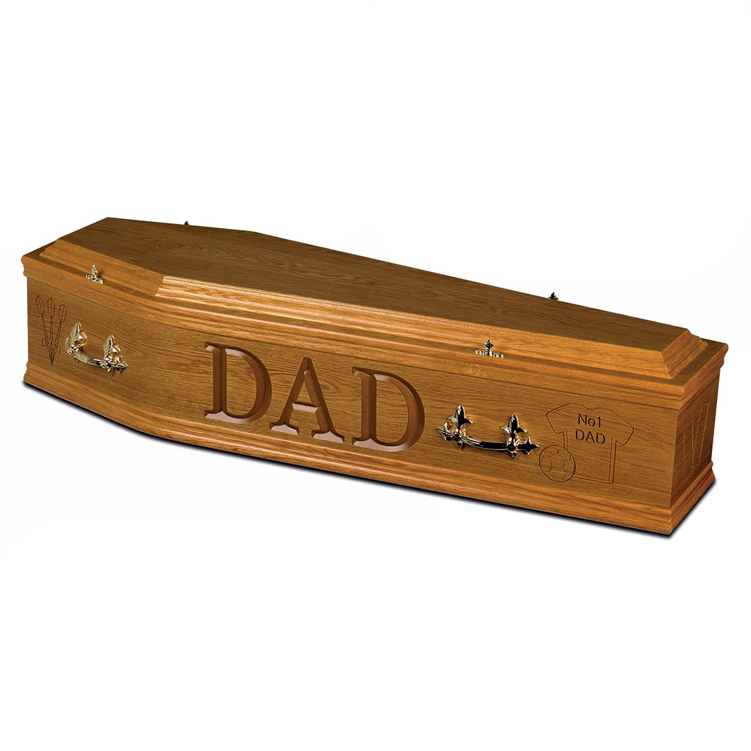 W Smith Funeral Directors The Engraved Light Oak Veneer Coffin