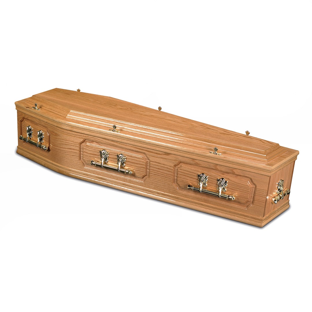 W Smith Funeral Directors The Merevale Light Solid Oak Coffin